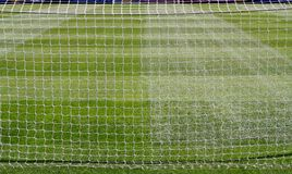 Full length of the Pitch. Taken from behind Goal nets Royalty Free Stock Image