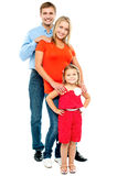 Full length portrait of adorable caucasian family Stock Photo