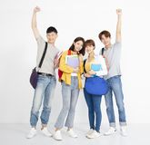 Full length portrait of  college students stock photo
