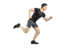 Full length portrait of an athlete running. On white background royalty free stock photo