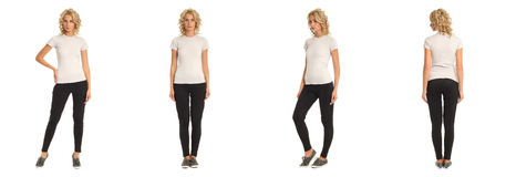 Full length portrait of beautiful blonde in white shirt Royalty Free Stock Image