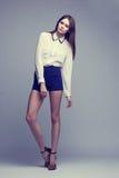 Full-length portrait of beautiful brunette woman. Fashion shot Stock Image