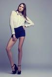 Full-length portrait of beautiful brunette woman. Fashion shot Royalty Free Stock Image