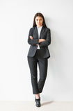 Full length portrait of beautiful business woman royalty free stock image