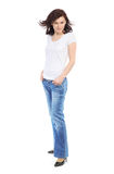 Full-length portrait of beautiful girl in jeans Stock Photography