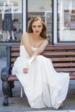 Full length portrait of beautiful model woman in long white dres Royalty Free Stock Photography