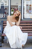 Full length portrait of beautiful model woman in long white dres Stock Photo
