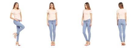 Full length portrait of beautiful teen in jeans Stock Image