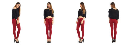 Full length portrait of beautiful teen in jeans Royalty Free Stock Photography
