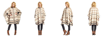 Full length portrait of beautiful woman in  poncho isolated Royalty Free Stock Photography