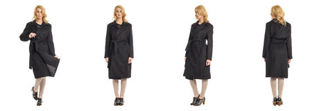 Full length portrait of beautiful women in overcoat Royalty Free Stock Images
