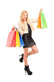 Full length portrait of a beautiful young woman holding shopping Stock Images