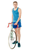 Full length portrait of a bicyclist Royalty Free Stock Photos