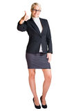 Full length portrait of blond business woman. Royalty Free Stock Image