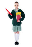 Full length portrait of blonde school girl Royalty Free Stock Photography