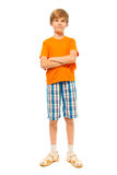 Full length portrait of boy on white Royalty Free Stock Photos