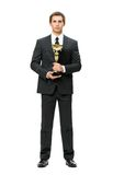Full-length portrait of business man with cup Royalty Free Stock Image