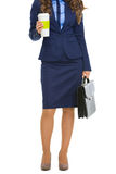 Full length portrait of business woman with briefcase and cofee Royalty Free Stock Images