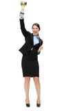 Full length portrait of business woman with cup Stock Images