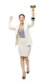 Full-length portrait of business woman with cup Stock Photos