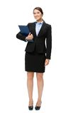 Full-length portrait of business woman with documents. Full-length portrait of business woman with folder, isolated on white. Concept of leadership and success Royalty Free Stock Photo