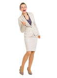Full length portrait of business woman fist pump Royalty Free Stock Images