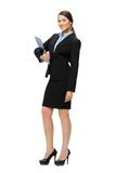 Full-length portrait of business woman with folder Royalty Free Stock Photo