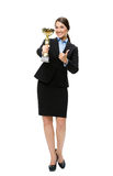 Full length portrait of business woman with gold cup Royalty Free Stock Photography