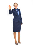 Full length portrait of business woman greeting Stock Photos