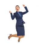 Full length portrait of business woman jumping Royalty Free Stock Photos
