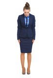 Full length portrait of business woman making asian greeting Stock Image