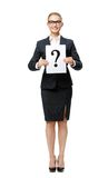 Full-length portrait of business woman with question mark. Full-length portrait of business woman handing question mark, isolated. Concept of problem and Royalty Free Stock Photos