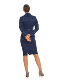 Full length portrait of business woman. rear view Royalty Free Stock Photos
