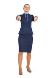 Full length portrait of business woman walking like zombie. High-resolution photo Royalty Free Stock Photos