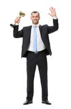 Full-length portrait of businessman with gold cup Royalty Free Stock Photos
