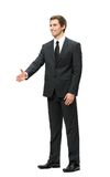 Full-length portrait of businessman handshake gesturing Royalty Free Stock Photos