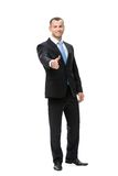 Full-length portrait of businessman handshaking. Full-length portrait of businessman handshake gesturing, isolated on white. Concept of leadership and success royalty free stock images