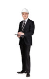 Full length portrait of businessman in helmet Royalty Free Stock Photos