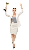 Full-length portrait of businesswoman with cup Royalty Free Stock Photos