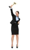 Full length portrait of businesswoman with gold cup Stock Photo