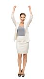 Full-length portrait of businesswoman with hands up Stock Photos