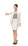 Full-length portrait of businesswoman handshaking Stock Photo