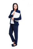 Full length portrait of a businesswoman with laptop Royalty Free Stock Photo