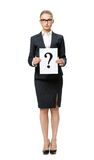 Full-length portrait of businesswoman with question mark Stock Photos