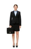 Full-length portrait of businesswoman with suitcase Stock Photo