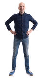 Full length portrait of a casual bald man Stock Photography