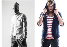 Full length portrait of a casual young man.Collage. Stock Images