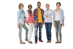 Full length portrait of casually dressed young people Royalty Free Stock Photo