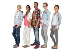 Full length portrait of casually dressed young people Royalty Free Stock Photography