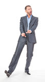 Full length portrait of cheerful business man Stock Photos